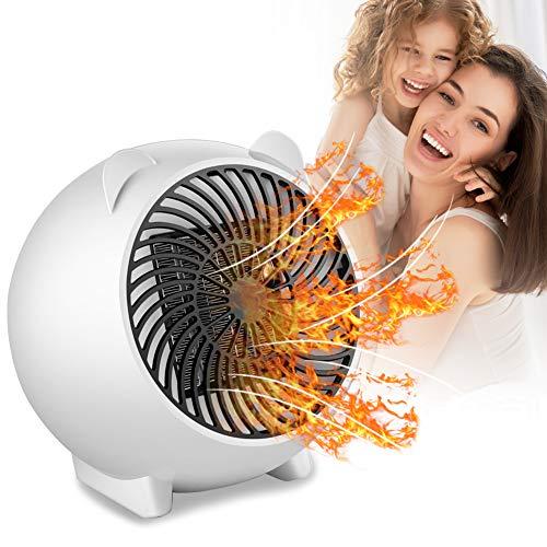 PINPOXE Calefactor Eléctrico, Mini Calefactor Ventilador, Cerámico Caliente Ventilador, Calentador de Portátil para Cuarto Oficina, Protección contra sobrecalentamiento.