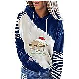Sudadera con capucha para mujer, de manga larga, con capucha, de gran tamaño, para invierno, con cordón ajustable, diseño de copo de nieve, azul, XXL