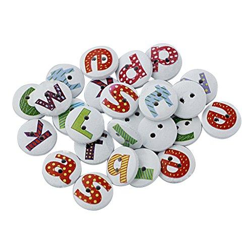 100pz Alfabeto Tondo Dipinto Bottoni In Legno 2 Fori Cucire DYI Scrapbooking Mestiere Natale Decorazione