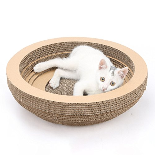 Pet Scratch Board,Bloomma Cat Scratcher Cardboard Scratching Post Pad Scratch Lounge Bed,Bowl-Shaped Corrugated Paper Cat Nest House,15.754.33''