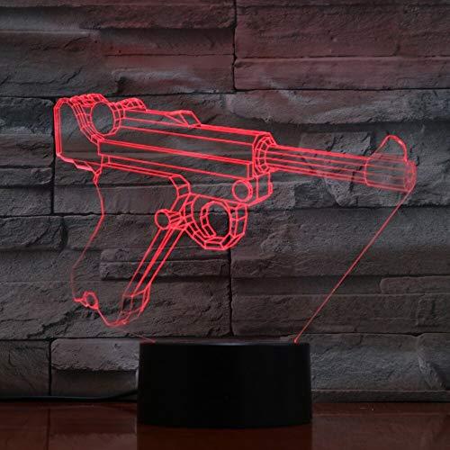 (Only 1) 3D Nightlight LED Gun Shape Desk Table Lamp 7 Colors Childrens Lighting Touch Switch Luminaria DC 5V USB bulbing Touch Light