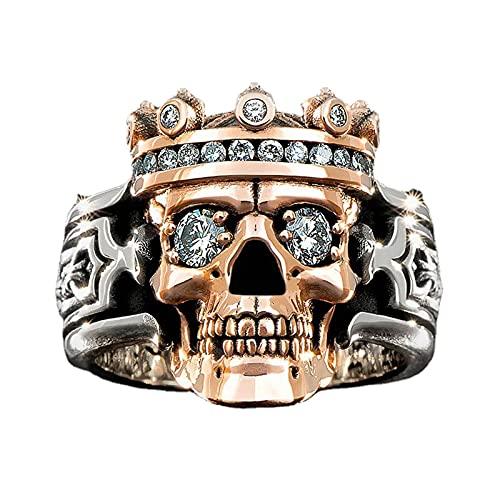 Totenkopfring Ringe für Damen Retro Zirkon Paar Geschenk Exquisit Ringe modeschmuck für Damen Ringe (Einheitsgröße,Multicolor-2)