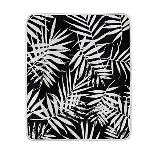 My Daily - Manta de microfibra de poliéster y microfibra de poliéster ligera (127 x 152 cm), color blanco y negro