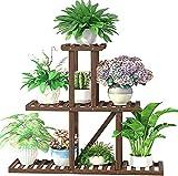cfmour Wood Plant Stand Indoor Outdoor, Multi Layer Plant Shelf Flower Pot Display Planter Holder, Garden Shelves Rack in Living Room Garden Balcony Patio (7-10 Flowerpots,Fits Large Pots)