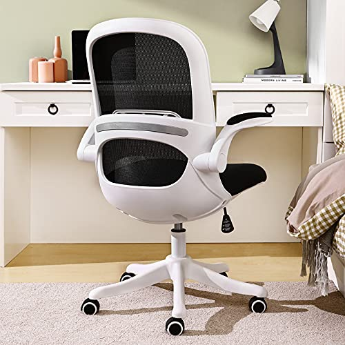 Home Office Desk Chair Ergonomic Computer Chair with Flip-Up Armrests Lumbar Support, Eggshell Chair, Small Cute Task Chair, Pink Modern Chair, Mid Back Mesh Chair, 250LBS Load-Bearing, White