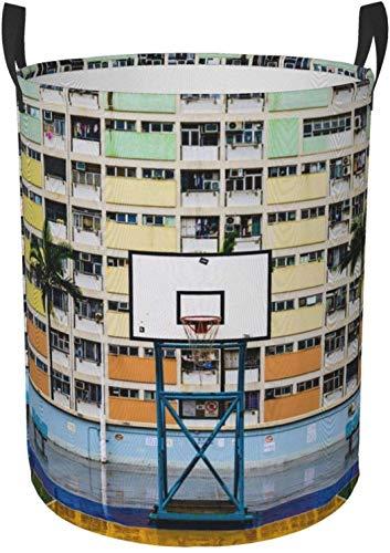 Cesta redonda del organizador del compartimiento de almacenamiento portátil circular de la cancha de baloncesto blanca para el cesto de la ropa