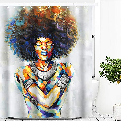 Artinme African American Afro Woman Black Art Painting Print Beach Shower Curtain Waterproof Polyester