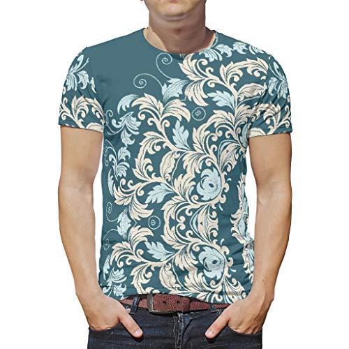 O3XEQ-8 Mann Herren Mandala T. Shirt Jungs Shirt, Teal Mandala Sommer Lässig - Streifen Gedruckt Boyfriend-Style Tragen White 3XL