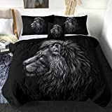 Sleepwish Lion Comforter Set Majestic Black and White Lion Bedding Quilt Sets 4 Piece Trendy Wild Big Cats Bed Lightweight Comforter for Kids Adults (Queen)