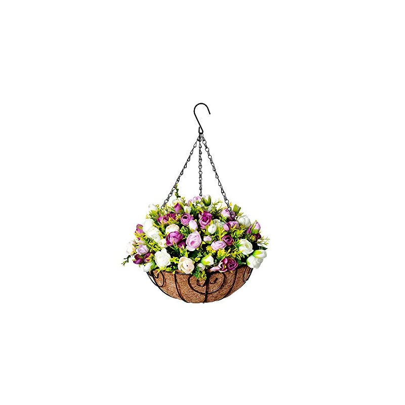 silk flower arrangements homsunny hanging flowers basket, artificial rosebud flowers in 12 inch coconut lining hanging baskets for the decoration of courtyard, outdoors, and indoors (pink, white)