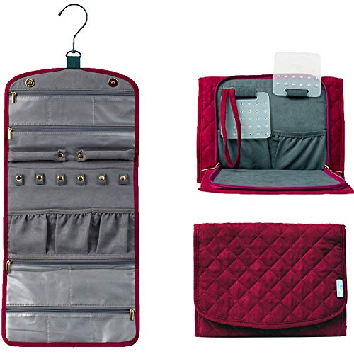 CD Pacific Travel Jewelry Organizer for Women - with Cleaning Cloth - Foldable Jewelry Roll Case in Burgundy - Portable Traveling Jewelry Storage Bag for Rings - Necklaces - Bracelets and Accessories