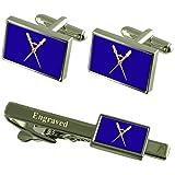 Select Gifts Maestro de Ceremonia masónica gemelos - Grabado Set de Regalo Clip de corbata