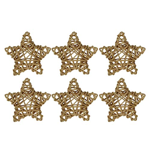 FLAMEER 6 Pieces 10cm/3.94inch Natural Rattan Wicker Star Decorations, Wood Rattan Balls for Home Wedding Party Festival Hanging Decor, Rustic Embellishments