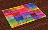 Ambesonne Abstract Place Mats Set of 4, Rainbow Colored Geometric Square Shaped Blurry Effects Watercolor Design, Washable Fabric Placemats for Dining Table, Standard Size, Multicolor