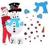 Kungfu Mall Felt Snowman DIY Felt Christmas Snowman Christmas Snowman Game Set con 31 piezas de adornos desmontables y 2 ganchos