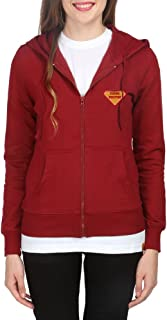 Campus Sutra Maroon Zipped Women Hooded Sweatshirt with Applique