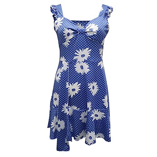 Liably Vestido de verano para mujer, estampado de corte bajo, sexy, con tirantes anchos, elegante, informal, ajustado, de cintura alta, multicolor, retro, para fiestas azul M-36/38/40