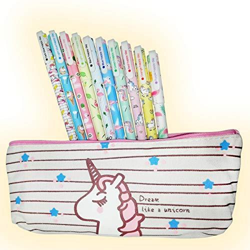 Cutieyou Unicorn Flamingo Gel Ink Pens 10 pcs + Unicorn Pencil case, fine Point 0.5mm Pen – Unicorn gift for girls