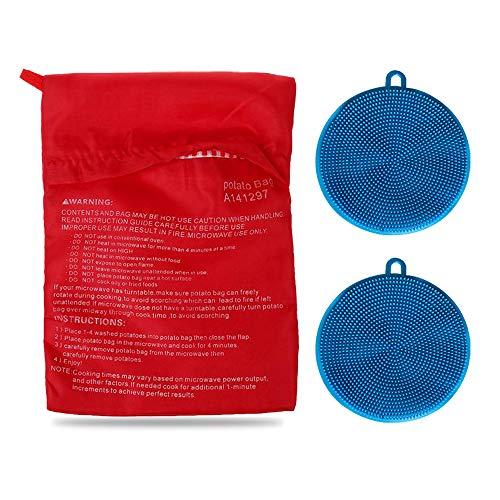 Kit di sacchetti di patate per forno a microonde, con 2 spazzole in silicone per verdure, sacchetto riutilizzabile per patate al forno e spugna multiuso in silicone (blu)