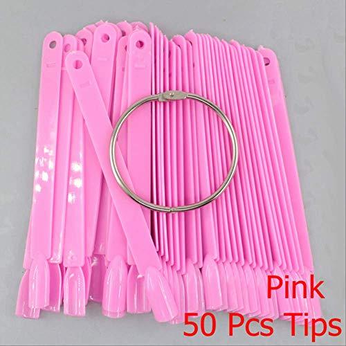Décalage d'ongle WFQ False Nail Tips Fan Clear Black 12/24/32/50 Pcs/Set Finger Carte Complète Carte Nail Art Pratique Polish Pink-50 Pcs