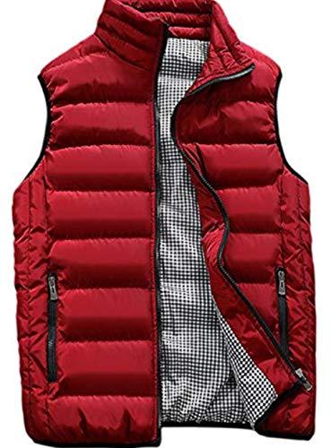 XinYangNi Men's Lightweight Water-Resistant Down Vest Red US L