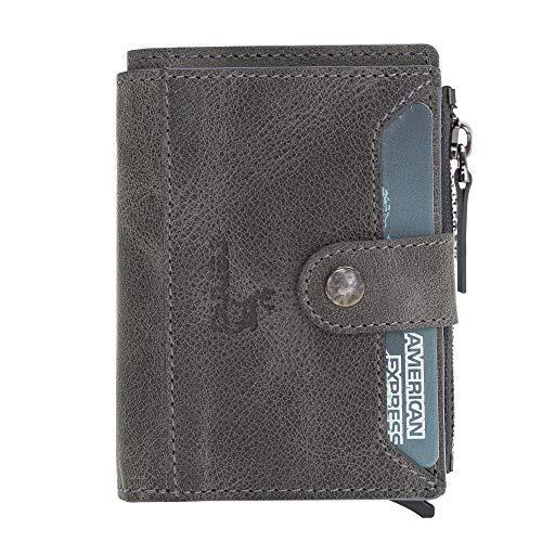 Rennaleather - Cartera de piel auténtica hecha a mano con bolsillo para monedas, cierre de cremallera y protección RFID (gris)