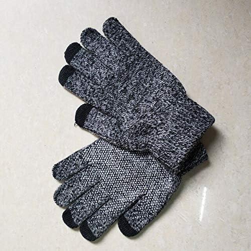 LOLIRYZ Knitted Gloves Autumn Winter Touch Screen Women Men Plush Thin Solid Warm Mittens Velvet Female Gloves - (Color: 5, Gloves Size: Free Size)