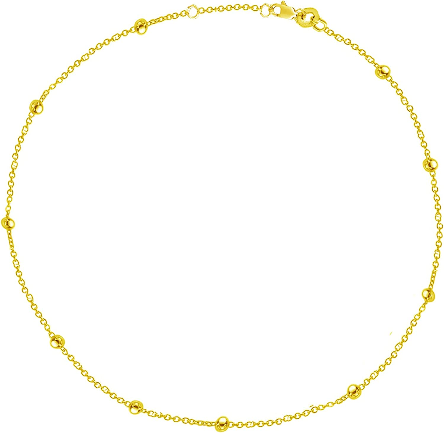 Ritastephen 14K Yellow Gold Bead Ball Anklet and Cable Link Bead Anklet Adjustable 9-10 Inches