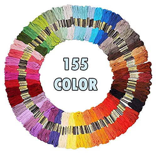 Premium Rainbow Color Embroidery Floss 155 Skeins Per Pack with Cotton for Cross Stitch Threads, Bracelet Yarn, Craft Floss, Embroidery Floss Set, Cross Stitch Thread,Bracelets Floss,Stitch Threads