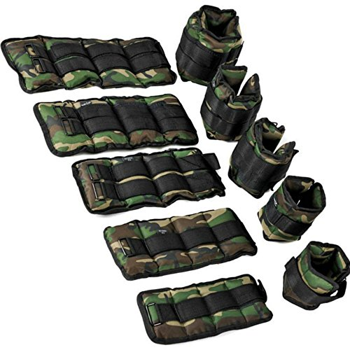 DOBO® Coppia pesi caviglie polsi cavigliere allenamento e resistenza con peso totale da 0,5 a 6 Kg - Colore Mimetico (1.5 KG Totali)