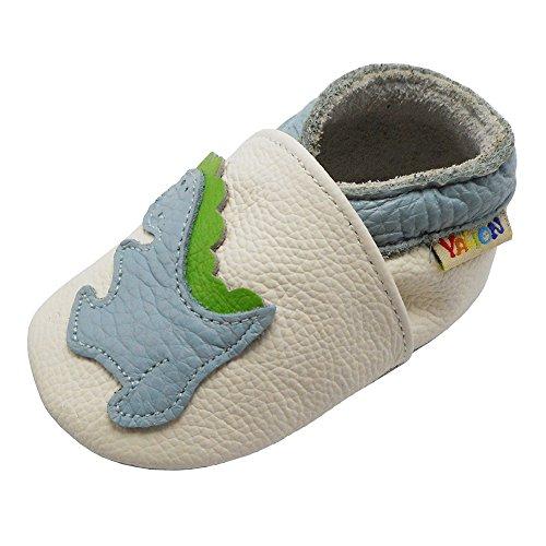 YALION Premium Weich Leder Babyschuhe Krabbelschuhe Lauflernschuhe Hausschuhe mit Dinosaurier Weiß, 12-18 Monate