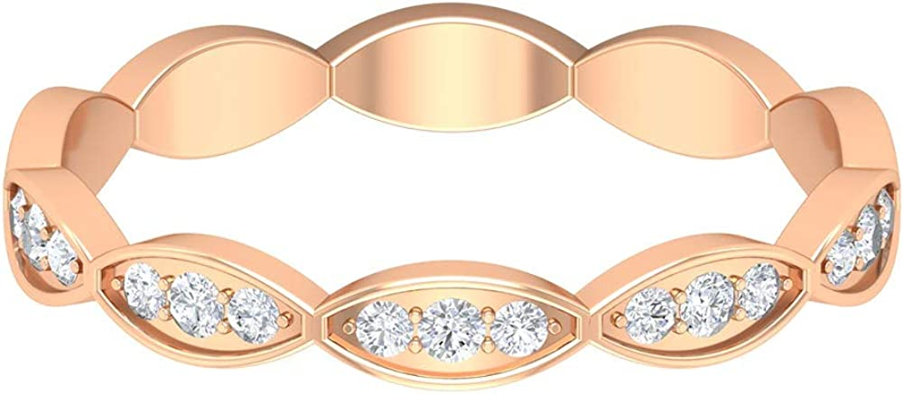 Art Deco 0.17 CT Certified Diamond Wedding Anniversary Ring, Solid Gold Engraved Vintage Full Eternity Promise Ring, Bridal Matching Stacking Ring Set, 14K Gold