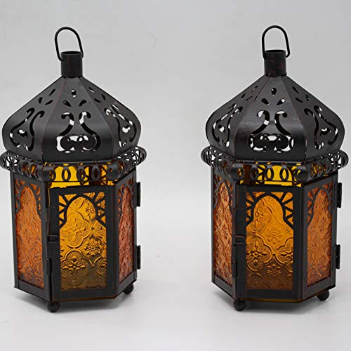 Ninganju 2 Pack Amber Color Glasses Moroccan Style Candle Lantern Decorative for Patio, Indoors/Outdoors, Events, Parties and Weddings (10' Tall)