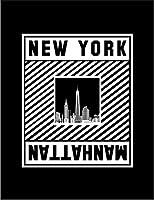 【FOX REPUBLIC】【マンハッタン シルエット ニューヨーク】 黒マット紙(フレーム無し)A3サイズ