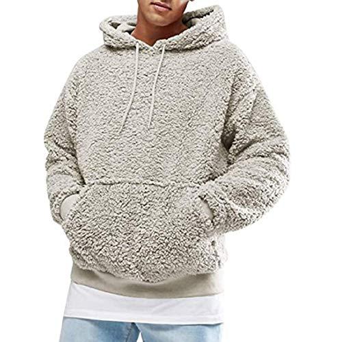 suanret Herren Sweatshirt Kapuzenpullover Warmer Flauschiger Hoodies Lässiges Reißverschluss Outwear Hoodie Pullover Leichter Jumper Mantel Jacke Bluse (M, Leichte Aprikose#5)