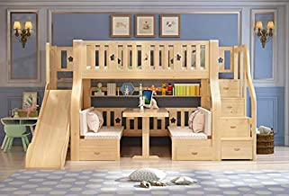 Kids Bunk Bed for Kids with Slide and Storage Stairs Solid Pine Children Wooden Bed Kids Bedroom Furniture Playset Cubby H...