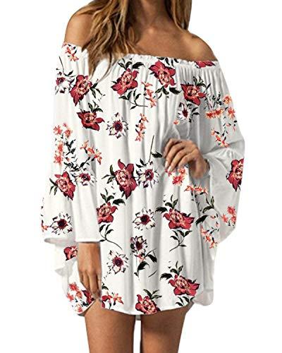 ZANZEA Damen Langarm Schulterfrei Kleid Chiffon Blumen Oversize Oberteil Mini Kleider 06-weiß XX-Large