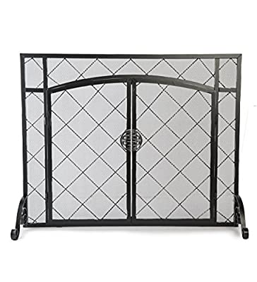 Celtic Knot Large Fireplace Screen with Hinged Doors, Powder Coated Steel Frame, Metal Mesh, Decorative Design, Free Standing Spark Guard- 44 W x 33 H Black from Plow & Hearth