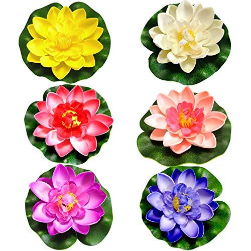 Künstliche Seerosen Schwimmende Seerose Lotus Künstliche Lotus Lilien Teichpflanzen Künstliche Wasser Schwimmende Blumen Schaum Blume Teich 10cm Für Aquarium Terrasse Garten Pool Garten Teich 6 Stück