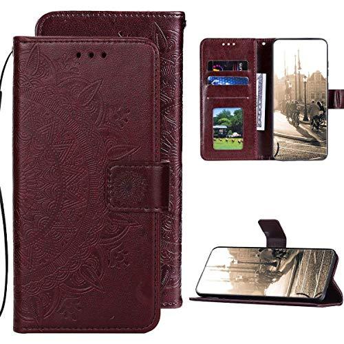 Kompatibel mit Samsung Galaxy M21 Hülle PU Leder Tasche Brieftasche Flip Handyhülle,QPOLLY Totem Blumen Muster Magnetisch Klapphülle Schutzhülle mit Standfunktion für Galaxy M21,braun
