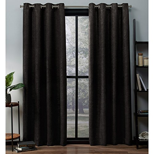 Exclusive Home Curtains Oxford Textured Sateen Thermal Window Curtain Panel Pair with Grommet Top, 52x108, Espresso, 2 Count