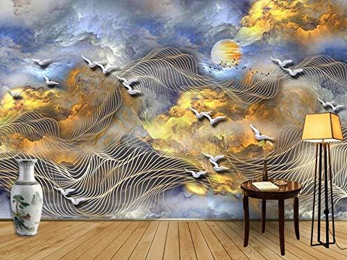 Tapete 3D Wandbild Abstrakte Linien Der Günstigen Wolken Der Chinesischen Art Die Vögel Fliegen Fototapete 3D Effekt Vliestapete Wohnzimmer Wanddeko