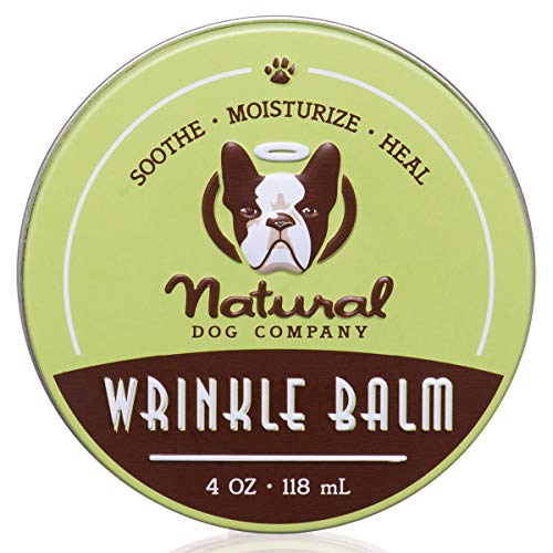 Natural Dog Company Wrinkle Balm, Cleans and Protects Dog Wrinkles and Skin Folds, Perfect for Bulldogs, All Natural, Organic Ingredients, 4oz Tin, Packaging May Vary