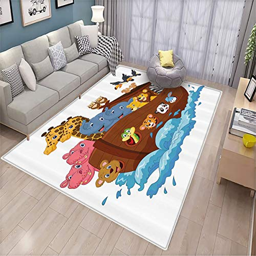 Dormitory Floor mat,Noahs Ark Decor Collection Noahs Ark Owl Pet Rabbit Mouse Panda Old Testament Symbol Joyful Art,Non-Slip Decoration of Floor mats for Patio Doors 170x200cm