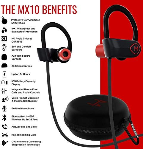 ONE Day Sale! - The MX10 Bluetooth iPhone Headphones -    Ear Buds Wireless Headphones - Designed for Running and Sport Workouts - Built-in Microphone with Noise Cancellation - IPX7 Waterproof