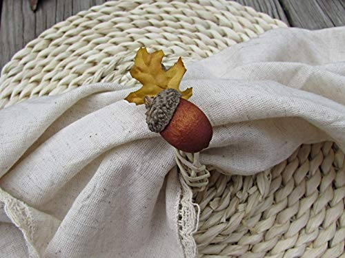 Fall Acorn & Oak Leaf Napkin Ring Holders- Autumn Kitchen Decor- Thanksgiving Table Decor (Set of 4, 6, 8, 10, 12)