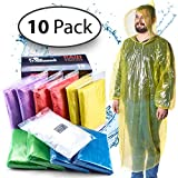 Rain Ponchos for Adults Disposable - 10 Pack w/ Backpack Cover - Poncho for Men, Rain Ponc...