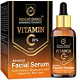 Honest Choice Vitamin C Serum with Hyaluronic acid, Aleo Vera, and Vitamin E/Anti Aging Face Serum/Skin Brightening and Lightening for Men and Women 30 ml