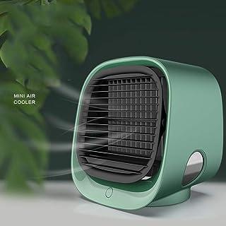 Mini enfriador de aire,mini aire acondicionado 4en1,humidificador,purificador,ventilador USB de escritorio, enfriador evaporativo compacto con tanque de agua de 300 ml, 3velocidades ( Color : Green )