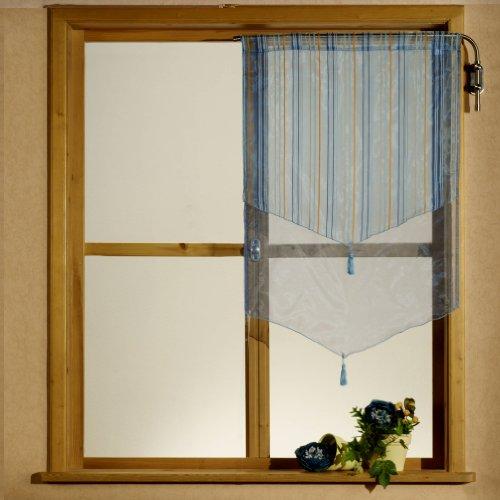heimtexland Gardinen, Scheibengardine, Kurzgardine Organza mit Webstreifen, Farbe Blau, Höhe 120cm x Breite 60cm Typ140